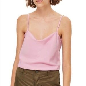 Topshop pink cowl neck camisole size 8